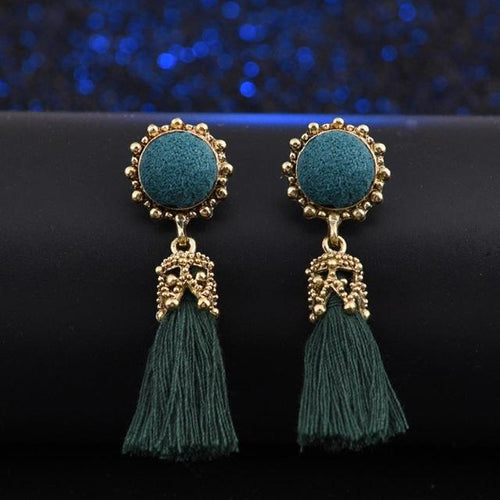 Vintage Tassel Earrings - Teal