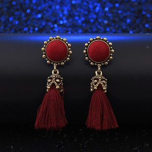 Vintage Tassel Earrings - Red