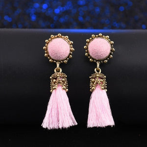 Vintage Tassel Earrings - Pink