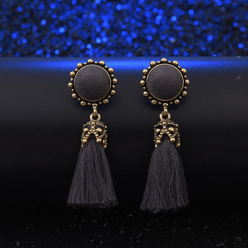 Vintage Tassel Earrings - Grey