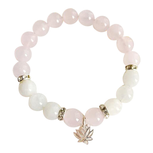 Moonstone & Rose Quartz Lotus Bracelet