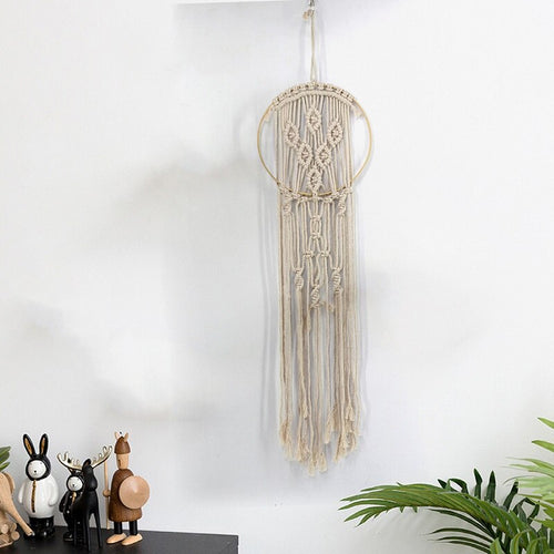 Macrame Cotton Dream Catcher -  Beige Tranquility