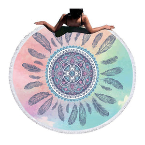 Round Beach / Picnic Blanket - Pink and Blue Feathers