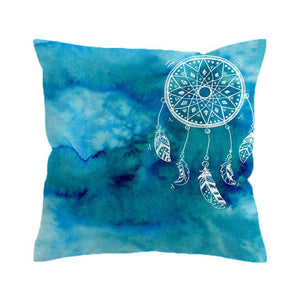 Watercolour Dream Catcher Cushion Cover - Blue