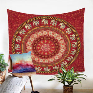 Mandala Wall Tapestry - Indian Elephant - Red