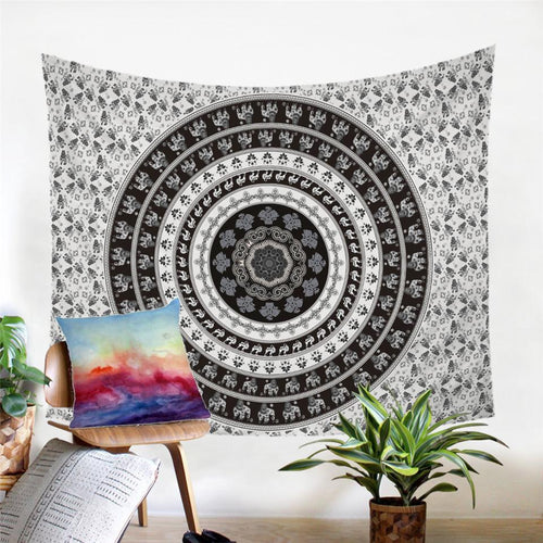 Mandala Wall Tapestry - Indian Elephant - White