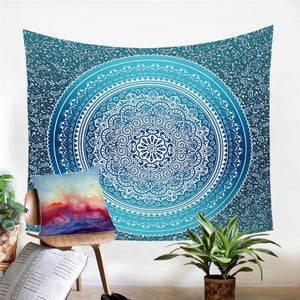 Mandala Wall Tapestry - Indian Elephant - Blue