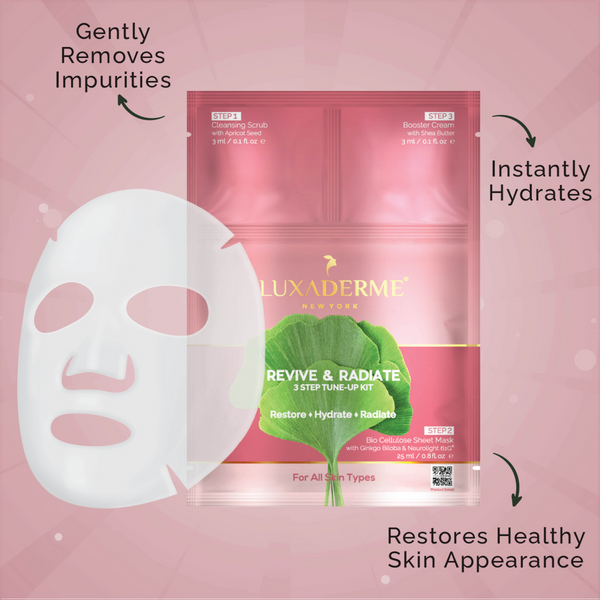 BUY 3, GET 2 FREE - Brightening BioCellulose Face Sheet Mask - LuxaDerme