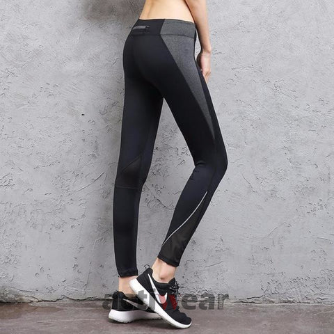 New Move Brand Sex High Waist Stretched Sports Pants Gym Black / S