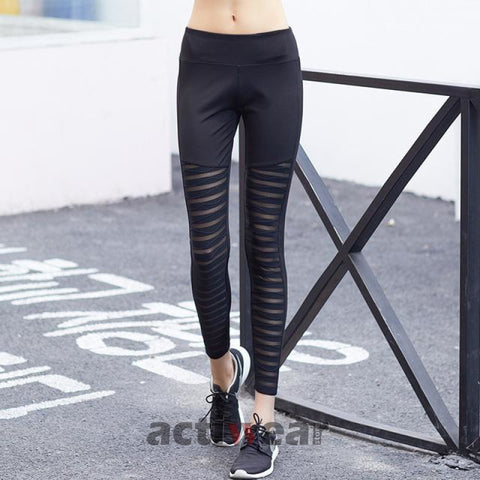 Running Flash Leggings Black Trousers Ck897 / S