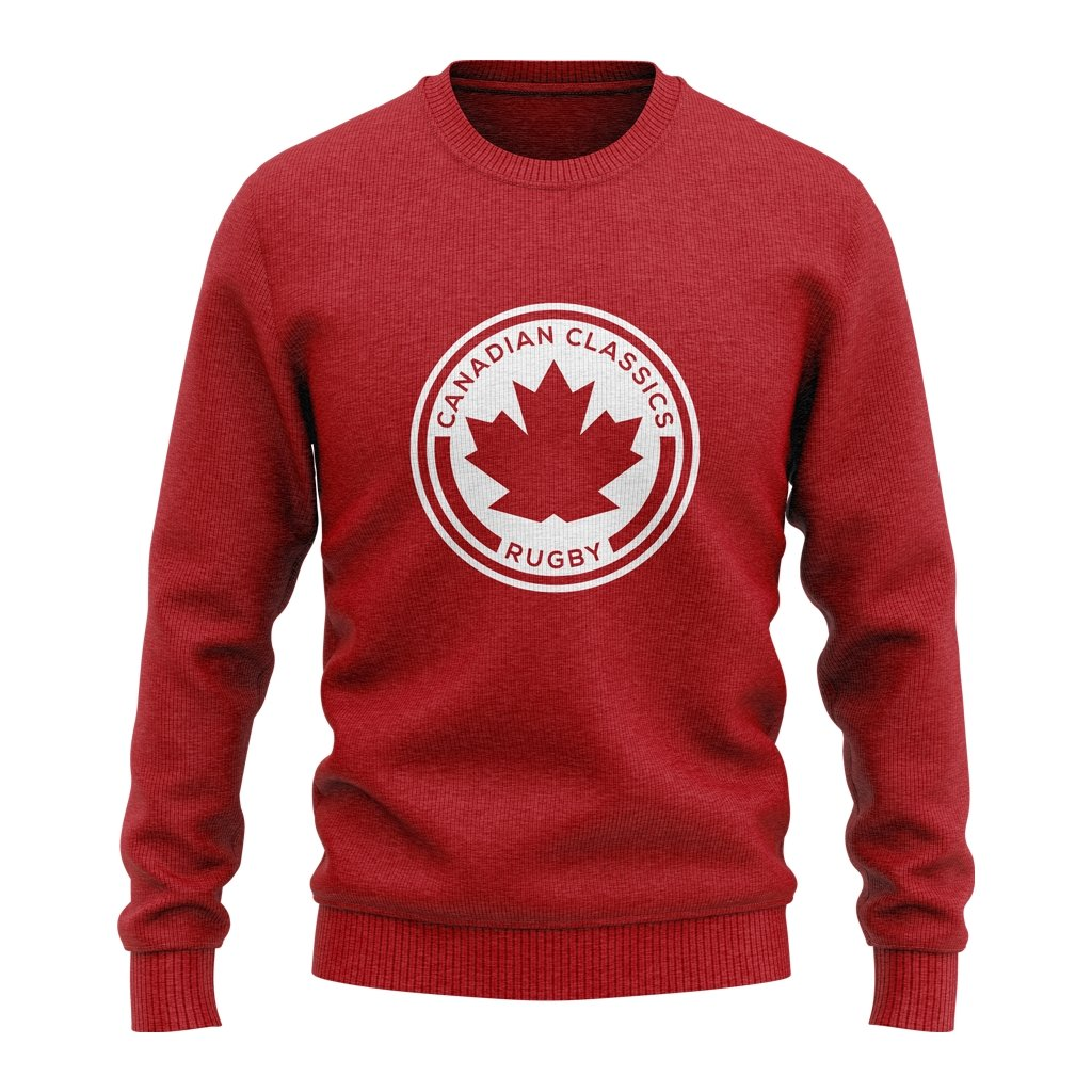 CANADIAN CLASSICS 2021 CREW NECK SWEATSHIRT - ADULT UNISEX RED/BLACK/GREY - www.therugbyshop.com