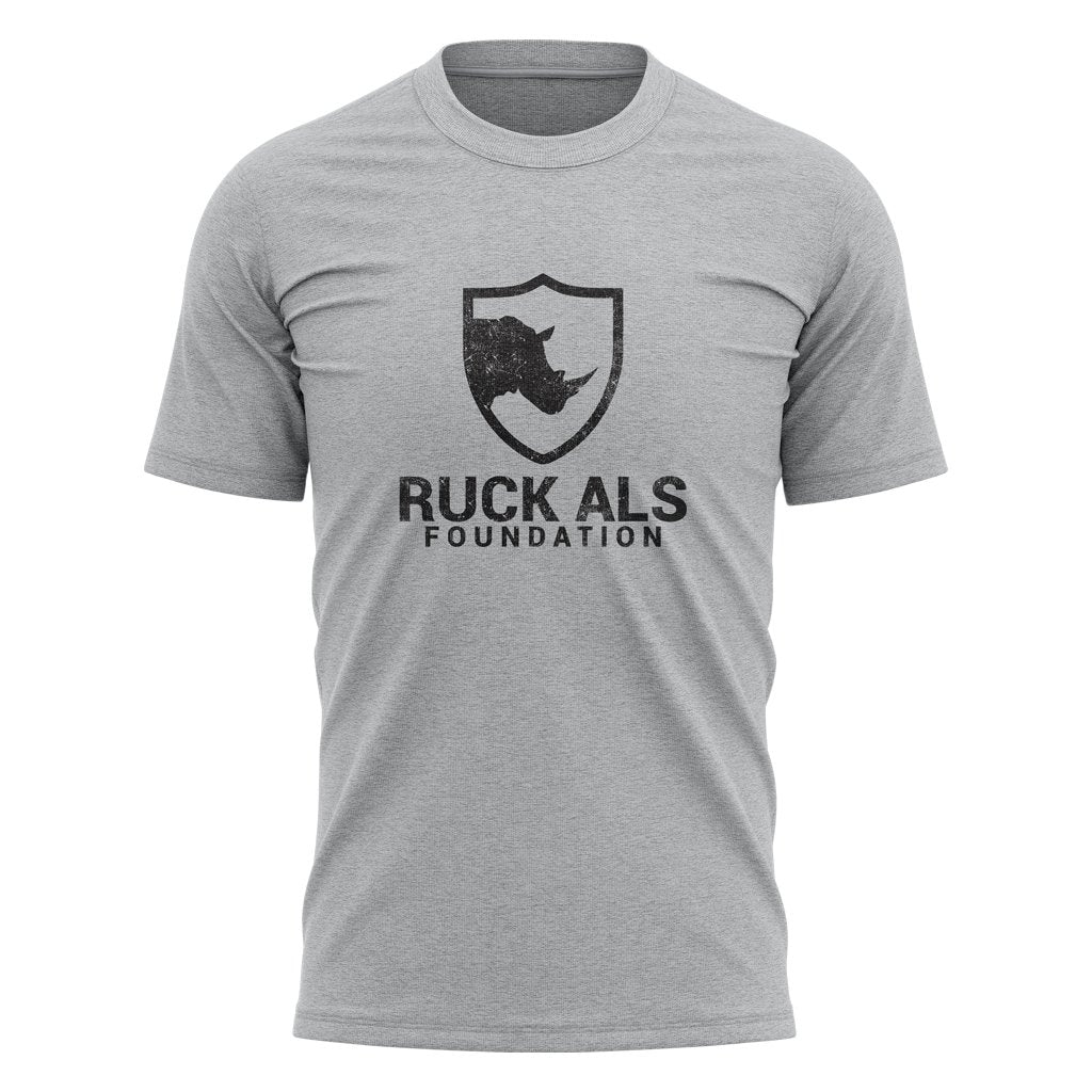 RUCK ALS FOUNDATION 2021 DISTRESS BLACK LOGO TEE - MEN'S/WOMEN'S/YOUTH HEATHER GREY - www.therugbyshop.com
