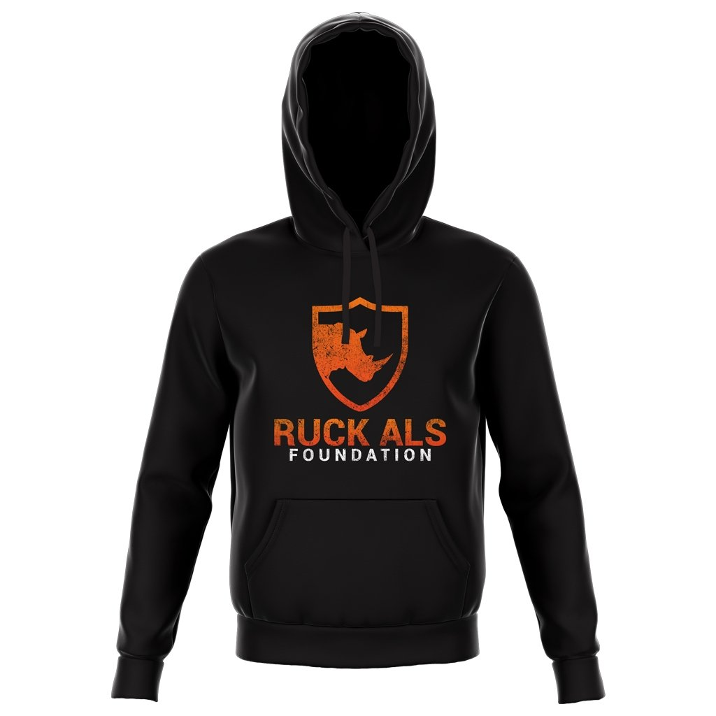 RUCK ALS FOUNDATION 2021 DISTRESS COLOR LOGO HOODIE - UNISEX BLACK - www.therugbyshop.com