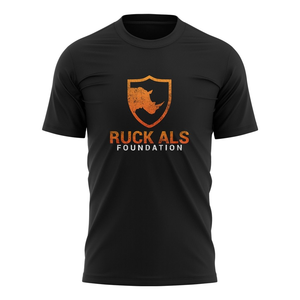 RUCK ALS FOUNDATION 2021 DISTRESS COLOR LOGO TEE - MEN'S/WOMEN'S/YOUTH BLACK - www.therugbyshop.com