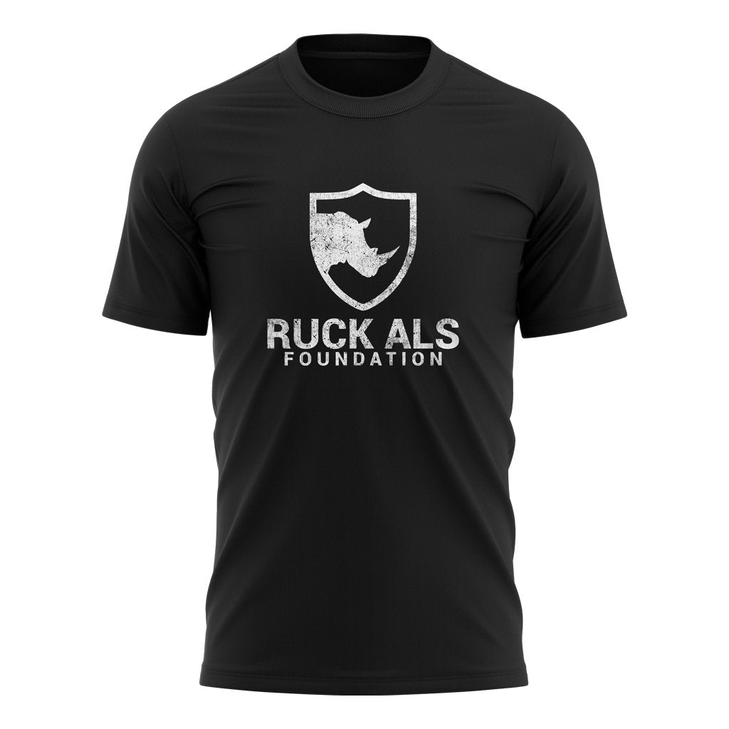 RUCK ALS FOUNDATION 2021 DISTRESS WHITE LOGO TEE - MEN'S/WOMEN'S/YOUTH BLACK - www.therugbyshop.com