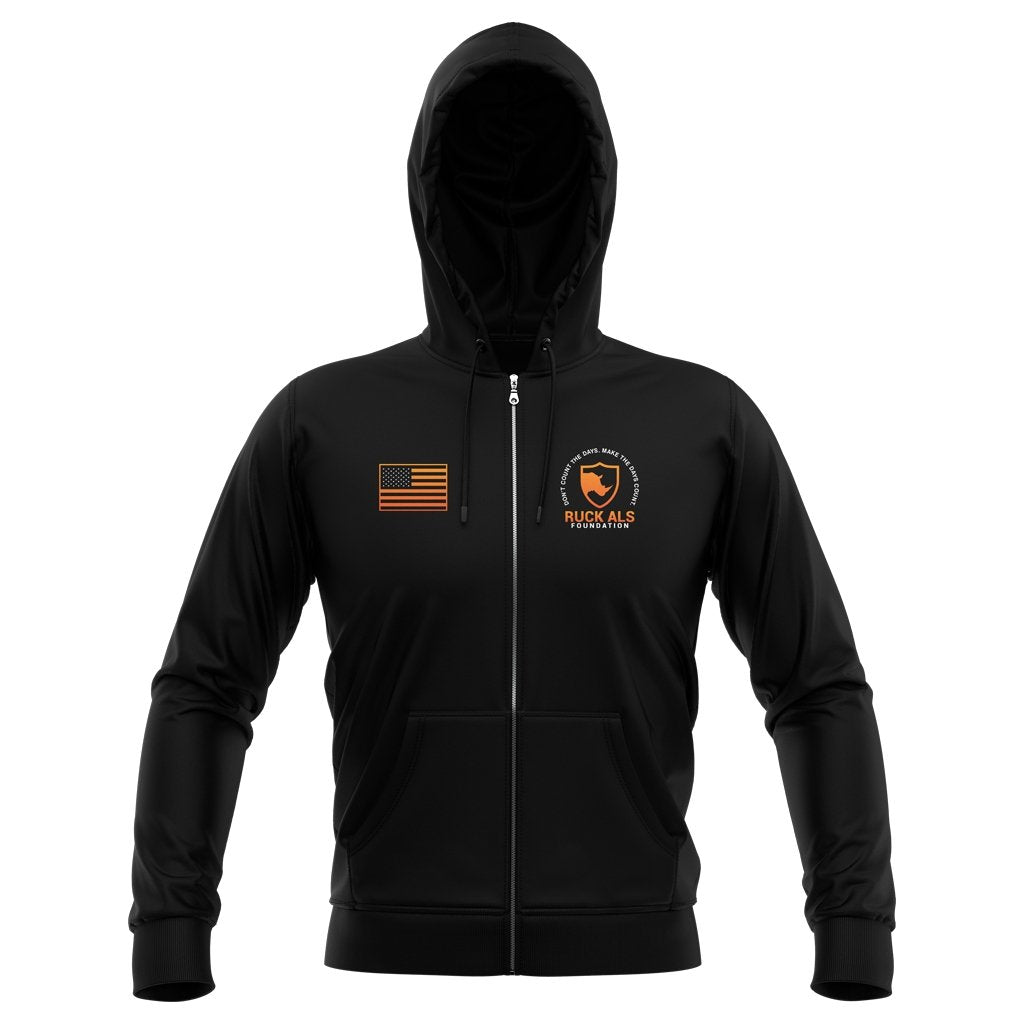 RUCK ALS FOUNDATION 2021 FLAG FULL ZIP HOODIE - UNISEX BLACK - www.therugbyshop.com