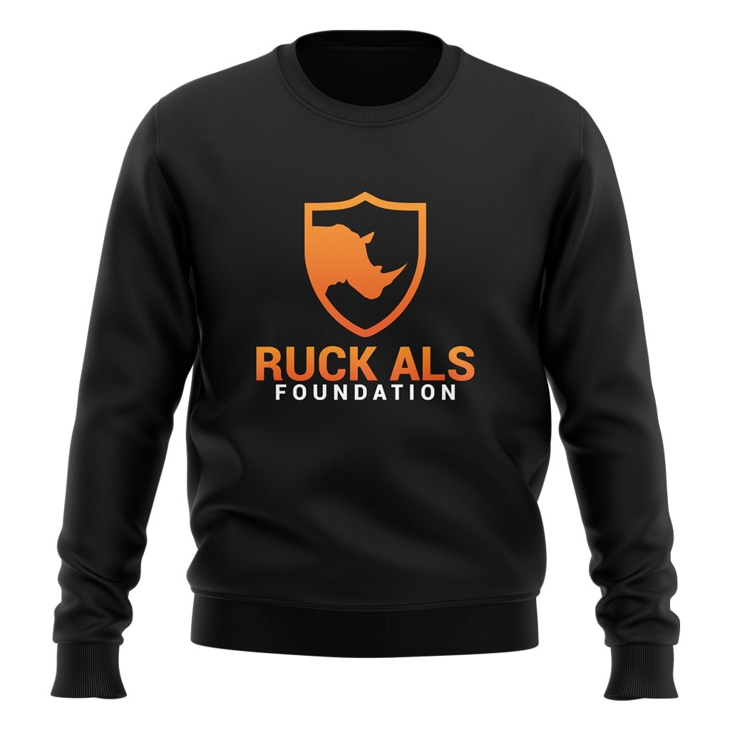 RUCK ALS FOUNDATION 2021 LOGO CREW NECK SWEATER - UNISEX BLACK - www.therugbyshop.com