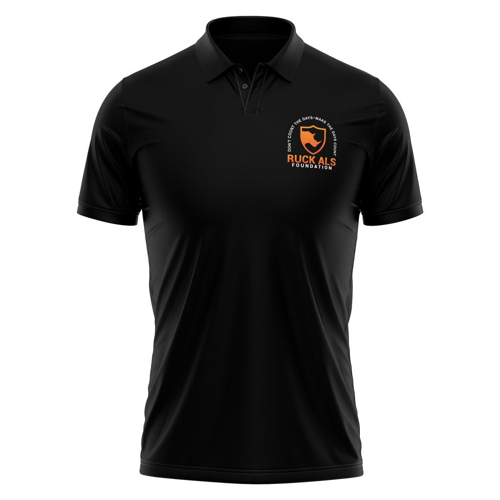 RUCK ALS FOUNDATION 2021 POLO - UNISEX BLACK - www.therugbyshop.com