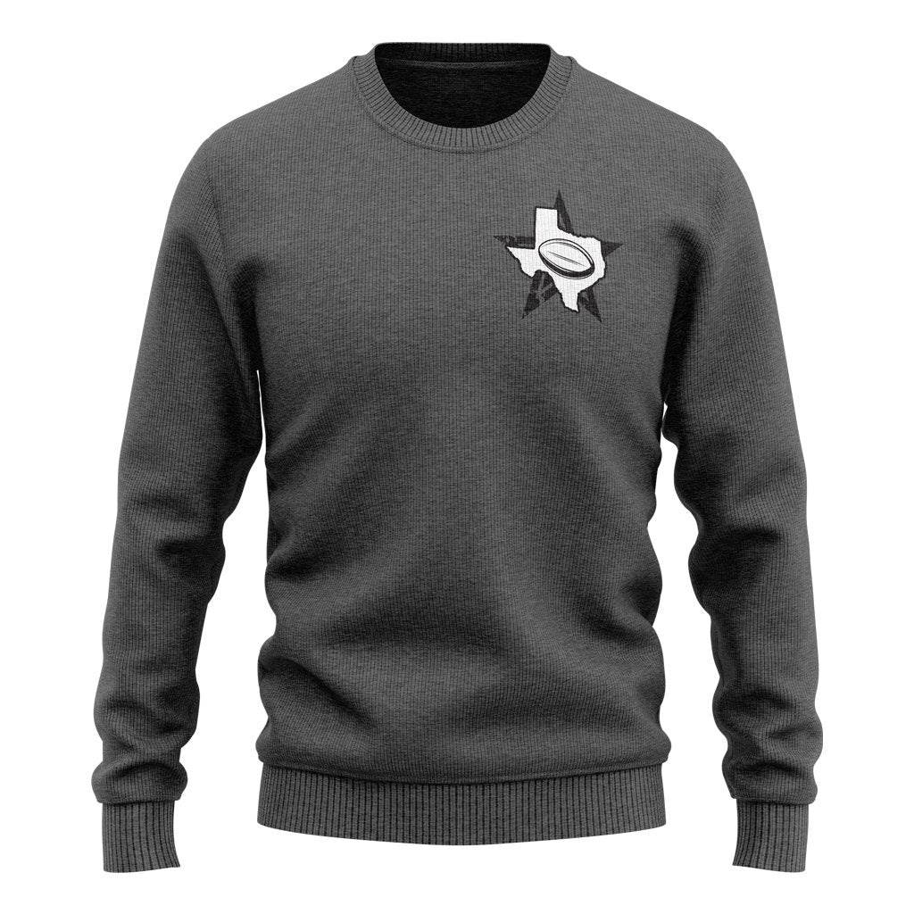 RUGBY FOR TEXAS CREW NECK SWEATER - UNISEX DARK HEATHER - www.therugbyshop.com