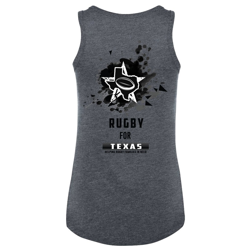 RUGBY FOR TEXAS WOMEN'S SINGLET - CHARCOAL HEATHER - www.therugbyshop.com