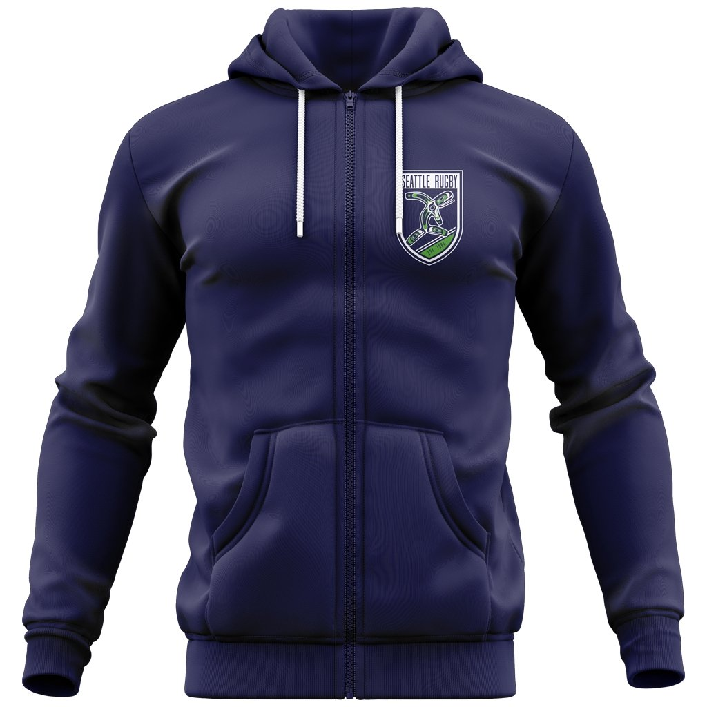 Seattle Rugby Club Adult Full Zip Hoodie Navy - www.therugbyshop.com