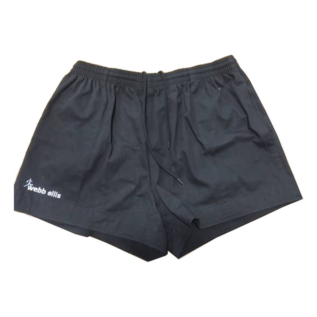 Webb Ellis Black Cotton Rugby Shorts - www.therugbyshop.com