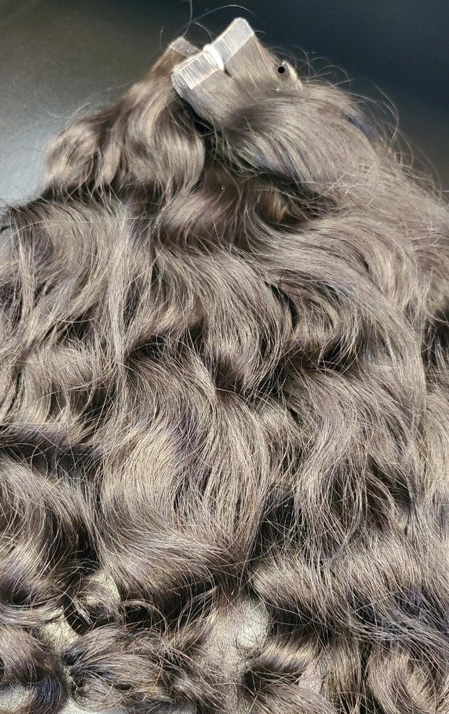 Raw Indian Wavy Tape In Hair Extensions