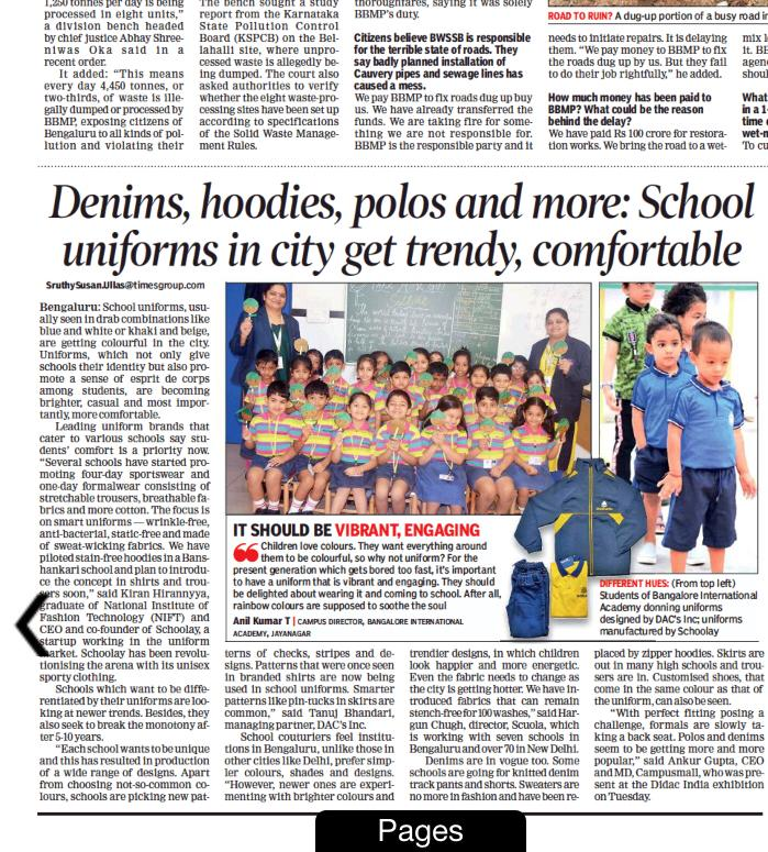 Times of India - Denims, hoodies, polos: School uniforms get trendy, comfortable