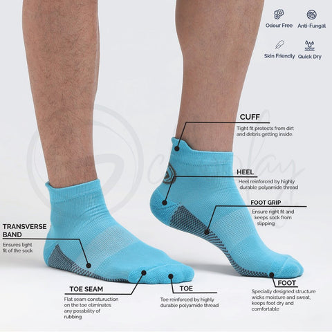 Anti-Fungal Ankle Sports Socks Teal Blue (Teen socks)