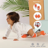 Anti Skid Infant Cotton Socks + Knee Pad + Bandana Drooling Bib Rabbit Orange (0-2 Years)