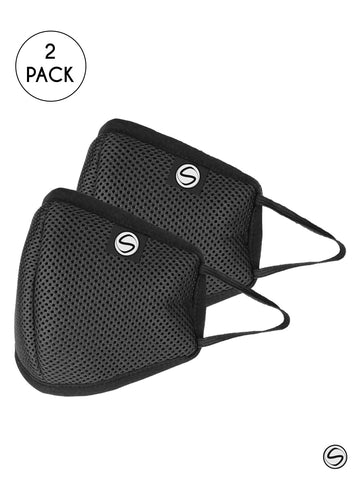 Schoolay Defenders adult pack of 2 black reusable 4-layer outdoor masks