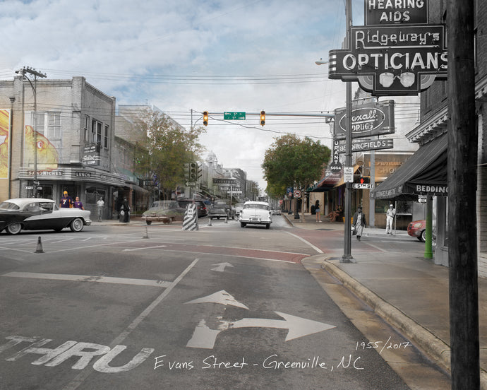 Then & Now Art®: Evans Street View - Greenville, NC [1955/2017]