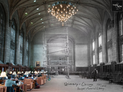 Then & Now Art®: Harper Memorial Library - University of Chicago [1910/2015]