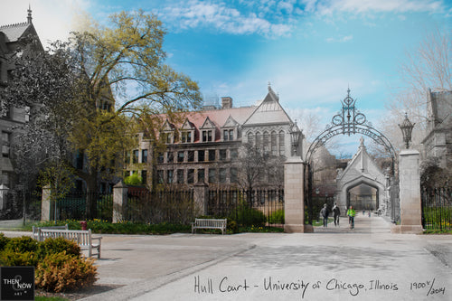 Then & Now Art®: Hull Court - University of Chicago [1900's/2014]
