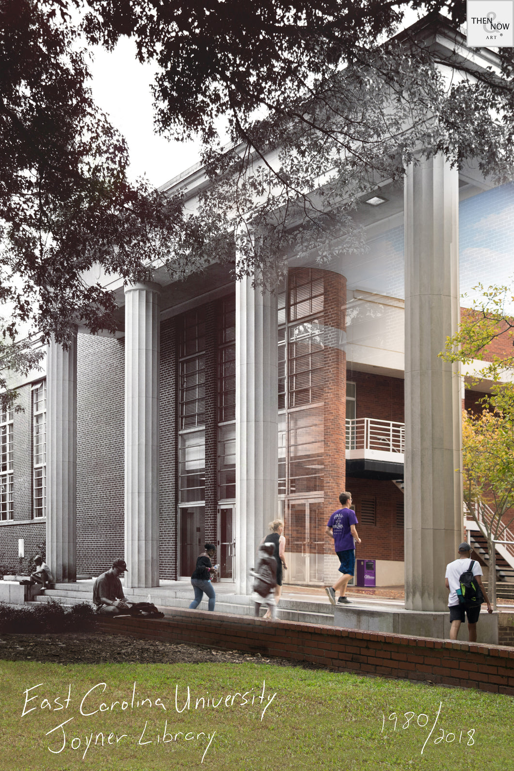 Then & Now Art®: Joyner Library - Greenville, NC [1980/2018]