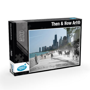 Then & Now Art®: Lake Shore Drive 500 Piece Jigsaw Puzzle