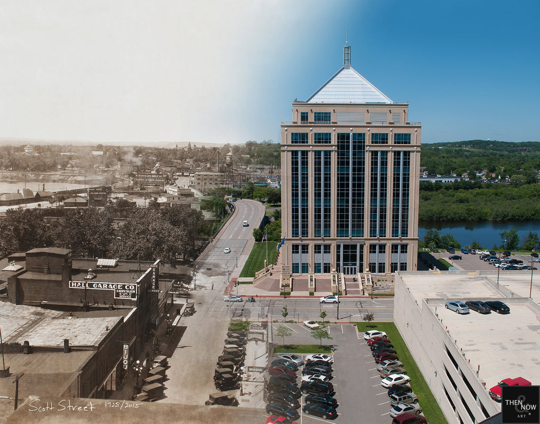 Then & Now Art®: Scott Street View - Wausau, WI [1928/2015]