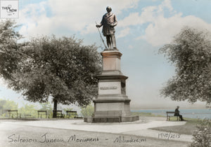 Then & Now Art®: Solomon Juneau Monument - Milwaukee, WI [1940/2013]