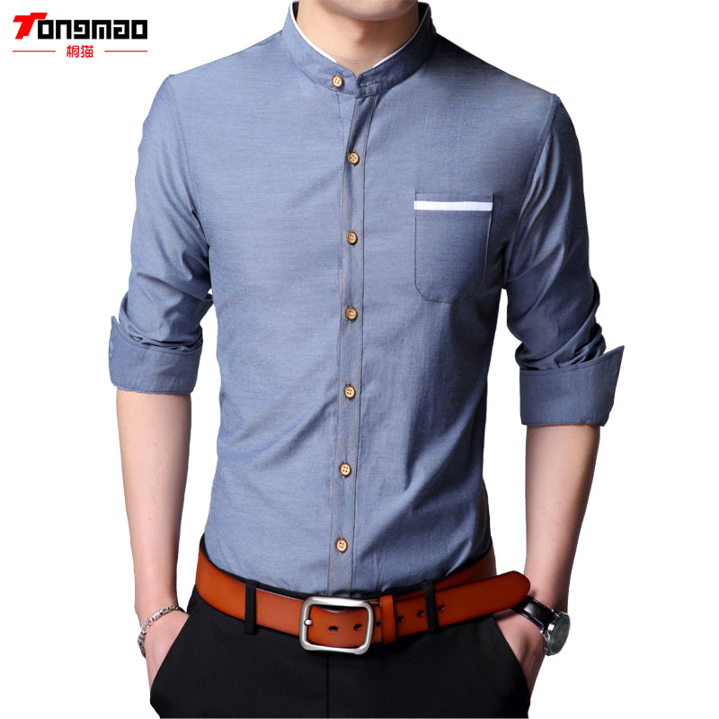 New Casual Men's Long-Sleeved Single-breasted Chinese Stand Collar Solid Color