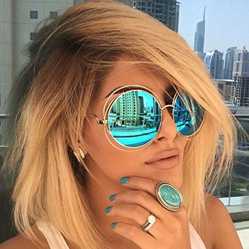 Oversized Big Round ROXANNE Bohemian Coachella Sunglasses Color Gold Turquoise Mirror
