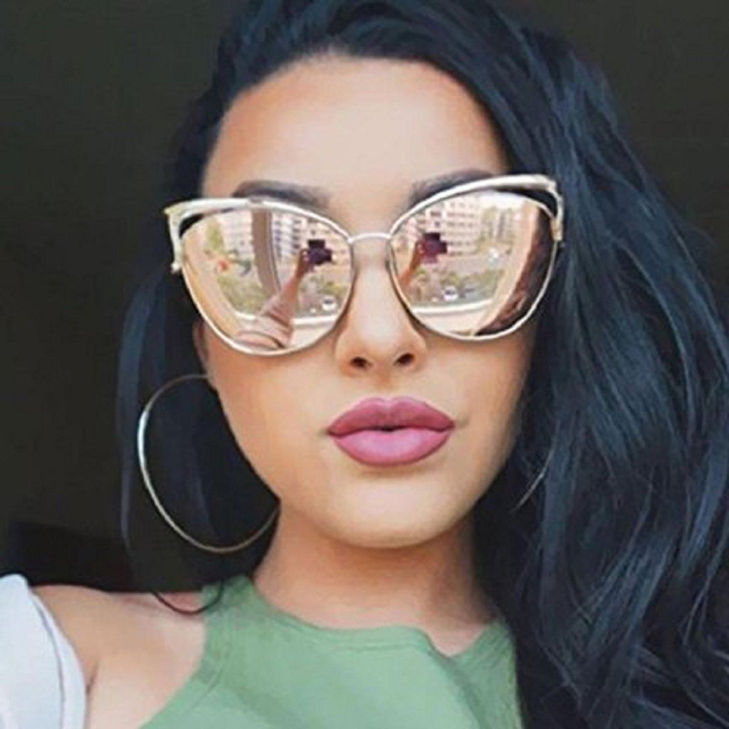 Sexy Cateye Women Sunglasses Oversized Metal Frame Flat Mirrored Lens