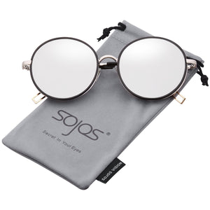 SojoS Oversized Round Metal Frame Sunglasses Flat Lens UV400 Protection SJ1076
