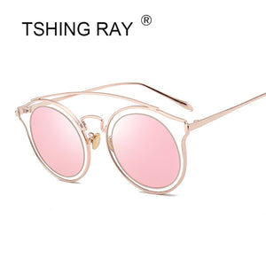 RAY Fashion Brand Designer Club Round Oversize Sunglasses Women Men Vintage Optical Mirror Sun Glasses For Ladies Shades
