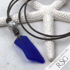 Cobalt Blue Sea Glass Leather Necklace with Genuine Pearl