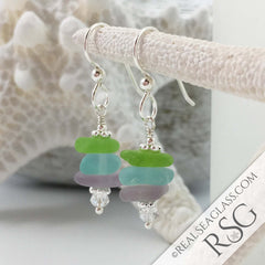 Purple Lime and Aqua Sea Glass Earrings