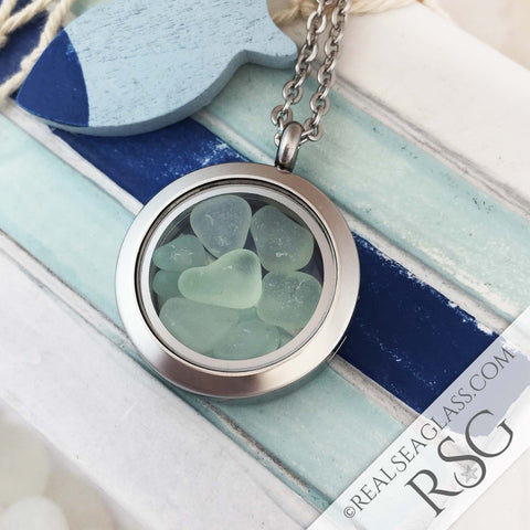 Seafoam Sea Glass Locket Necklace