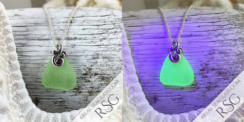 UV Sea Glass Pendants Under Blacklight