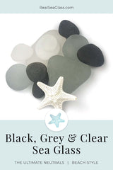 Black Gray and Clear Sea Glass Family Group Color Rarity Card