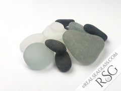 Clear Black and Gray Sea Glass