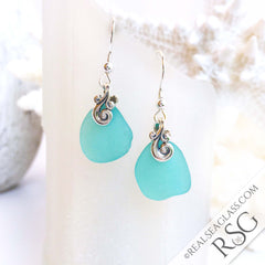 Bright Aqua Sea Glass Earrings